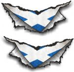 SMALL Pair Triangular Ripped Torn Metal & Scotland Scottish Flag Vinyl Car Sticker 75x35mm Each